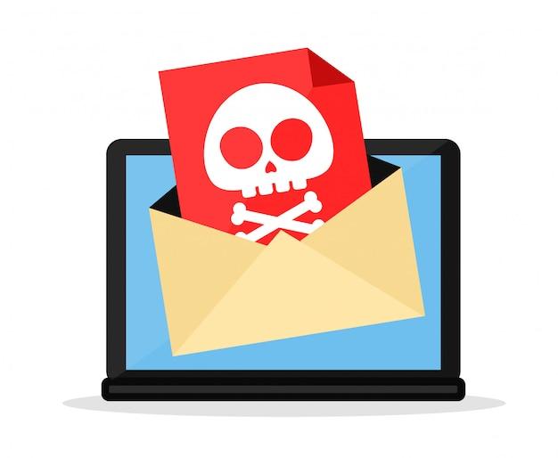 List z wirusem komputerowym w laptopie. płaski postać z kreskówki ilustracyjny projekt. pojedynczo na białym tle. niebezpieczeństwo, wiadomość, wirus komputerowy koncepcji