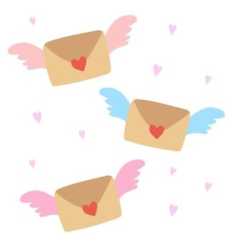 List ze skrzydłami latająca zamknięta koperta ze skrzydłami nie przeczytaj wiadomości przychodzącej