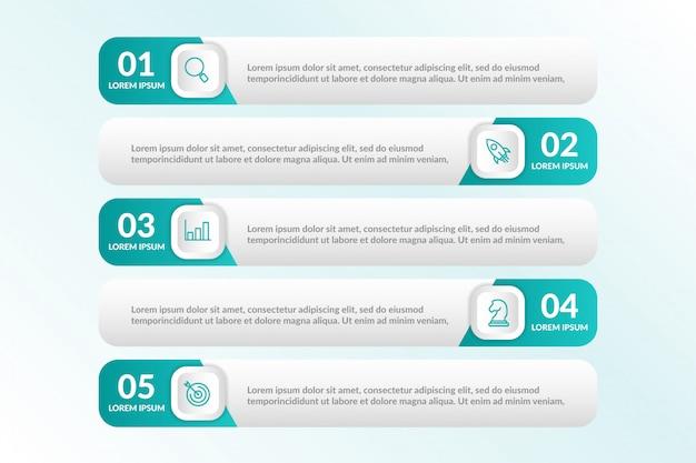 Lista infografika z 5 listami informacji