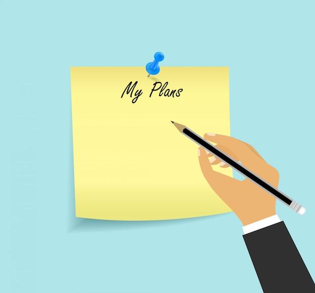 Lista koncepcji moich planów na kartce papieru.