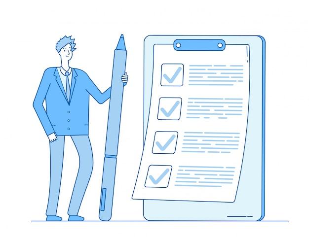 Lista kontrolna biznesmen. osoba trzymająca ołówek na liście zadań w schowku. kompletna koncepcja kontroli egzaminu kwestionariuszowego