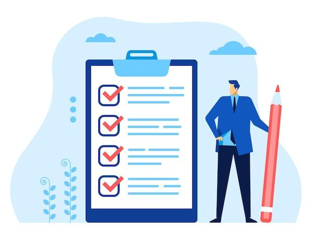 Lista kontrolna biznesmen pracownik biurowy z piórem patrząc na ukończoną koncepcję listy kontrolnej