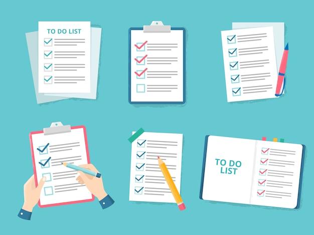 Lista kontrolna biznesu. sprawdzanie listy priorytetów, listy znaczników wyboru i sprawdzanie papieru, aby zrobić listy kontrolne płaski zestaw ilustracji