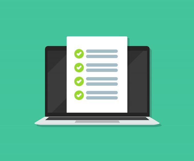 Lista kontrolna dokumentu na laptopie w mieszkaniu.