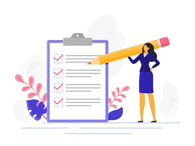 Lista kontrolna interesu. pomyślna kobieta sprawdza sukces zadania, wypełniał zadania biznesowe. ilustracja listy znaczników wyboru