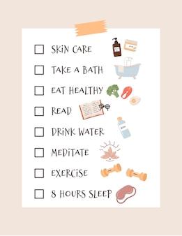 Lista kontrolna samoopieki i rutyna robienia pomysłów. obejmuje relaks, ćwiczenia, dobre odżywianie, zdrowie, szczęście, motywację, pielęgnację skóry, czytanie, spanie. ilustracja.