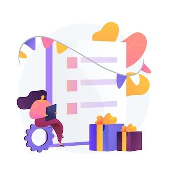 Lista kontrolna zakupów prezentów. postać z kreskówki dziewczyna kupująca prezenty online. e-commerce, karta podarunkowa, promocja. urodziny, bonus rocznicowy.