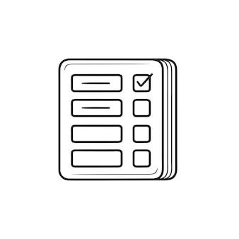 Lista kontrolna zarządzania ręcznie rysowane konspektu doodle ikona. zarządzanie projektami, harmonogram, koncepcja kamieni milowych. szkic ilustracji wektorowych do druku, sieci web, mobile i infografiki na białym tle.