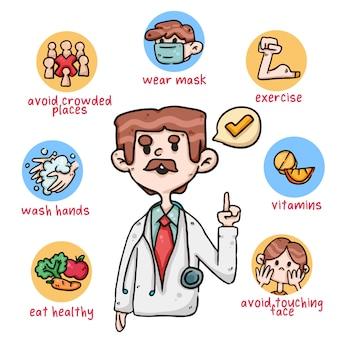 Lista lekarzy zapobiegająca koronawirusowi covid-19 śliczna ilustracja