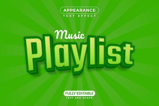 Lista odtwarzania muzyki wykres styl efektu tekstowego