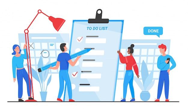 Lista rzeczy do zrobienia, cele uzupełniają ilustrację koncepcyjną. planowanie grupy płaskich małych ludzi kreskówka, stojących w pobliżu dokumentu papierowego planisty listy kontrolnej, oznaczanie zakończonych zadań biznesowych na białym tle