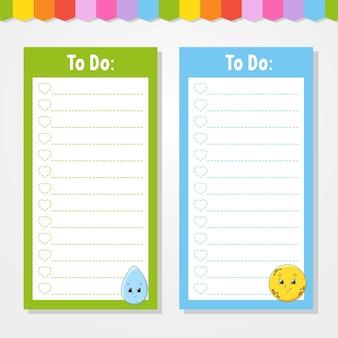 Lista rzeczy do zrobienia dla dzieci. pusty szablon. kropla i księżyc. kształt prostokątny. zabawna postać. styl kreskówki. do pamiętnika, notatnika, zakładki.