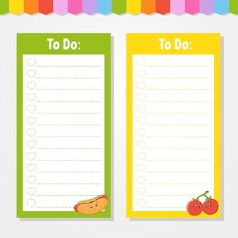 Lista rzeczy do zrobienia dla dzieci. pusty szablon. kształt prostokątny.