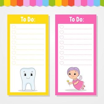 Lista rzeczy do zrobienia dla dzieci. pusty szablon. prostokątny kształt. kolor na białym tle ilustracji wektorowych.