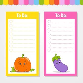 Lista rzeczy do zrobienia dla dzieci. pusty szablon.