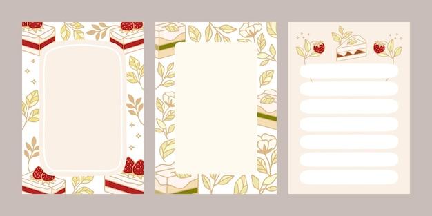Lista rzeczy do zrobienia, plan dnia, szablony notatników z ręcznie rysowanymi elementami ciasta i truskawek