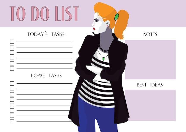 Lista rzeczy do zrobienia z kobietą mody w stylu pop art.