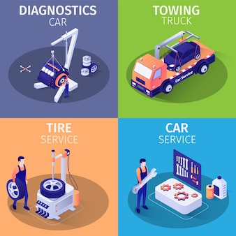 Lista usług w garażu samochodowym zestaw kart izometrycznych