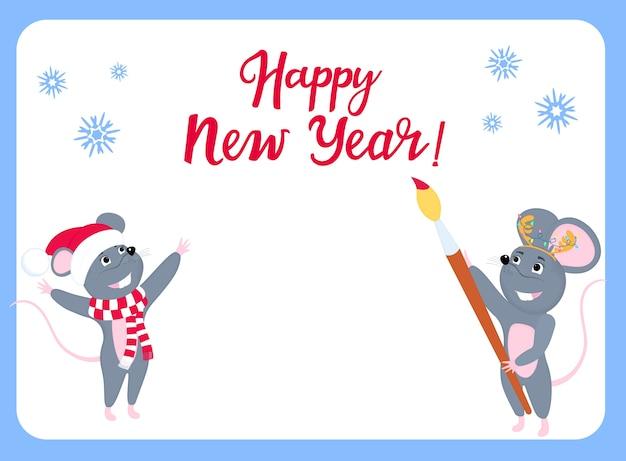 Lista życzeń. mała myszka pisze życzenia na nowy rok. szczur w czapce mikołaja.