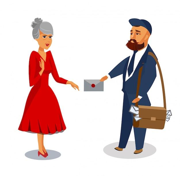Listonosz dostarcza poczta wektor odizolowywającą ilustrację