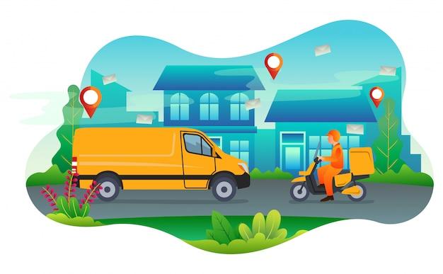 Listonosz dostarczający paczkę za pomocą yellow van i motocykla