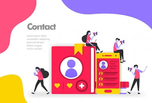 Listy kontaktów w książkach i banerach mobilnych