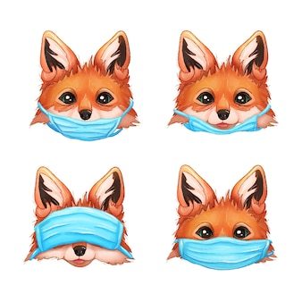Lisy z maskami ilustracja koronawirusa