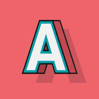 Litera a 3d typografia z efektem półtonów