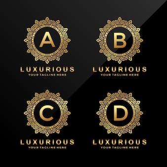 Litera a, b, c, d luksusowe logo złota