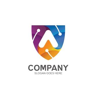 Litera a i tarcza w logo technologii