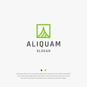 Litera a kwadratowy początkowy alfabet logo ikona szablon wektor