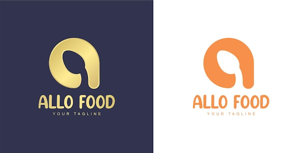 Litera a logo z ikoną łyżki