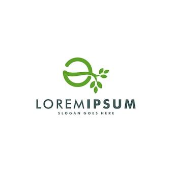 Litera a logo z ilustracji wektorowych liści