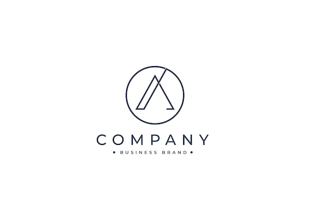 Litera a minimalistyczny projekt logo w kształcie koła