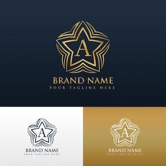 Litera a projektowanie logo pojęcie o kształcie gwiazdy