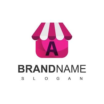 Litera a szablon projektu logo sklepu, symbol sklepu internetowego.