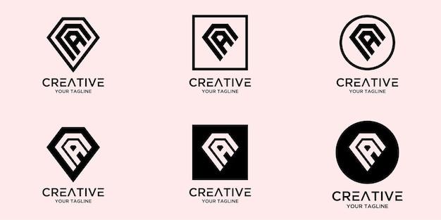 Litera a z abstrakcyjnym diamentowym szablonem logo