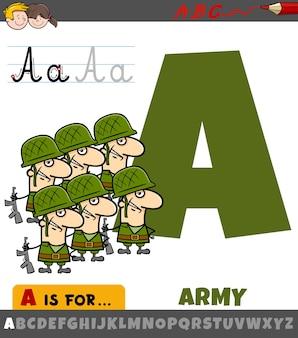 Litera a z alfabetu z armią kreskówek