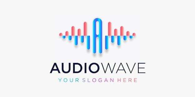 Litera a z impulsem szablon logo fali dźwiękowej sklep z korektorem muzyki elektronicznej