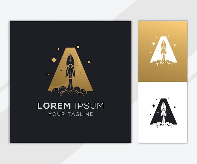Litera a z luksusowym szablonem logo streszczenie rakiety