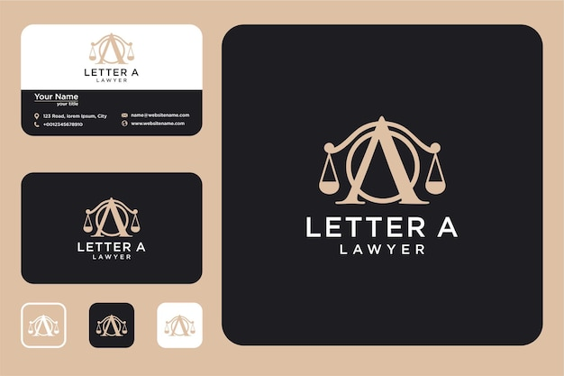 Litera a z projektem logo prawa i wizytówką