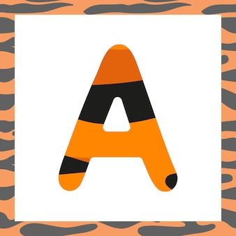 Litera a z świąteczną czcionką wzór tygrysa i ramką z pomarańczy w czarne paski symbol alfabetu dla...