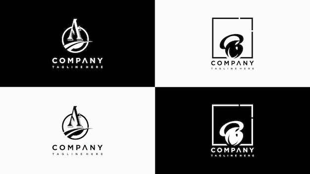 Litera ab liść logo projekt wektor premium wektorów