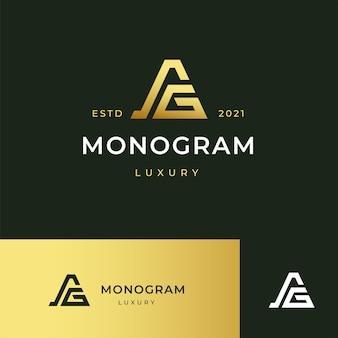 Litera Ag Monogram Logo Ikona Ilustracja Linia Paski Styl Premium Wektorów