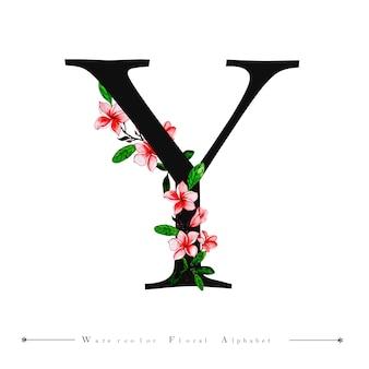 Litera alfabetu akwarela kwiatowy tło