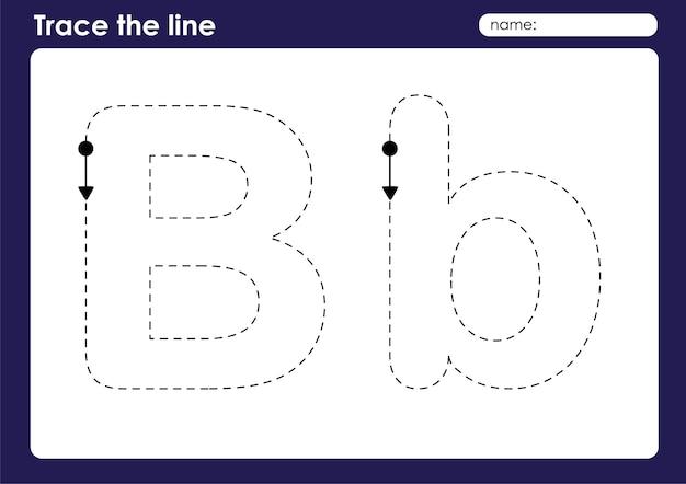 Litera alfabetu b w arkuszu przedszkolnym śledzenia linii