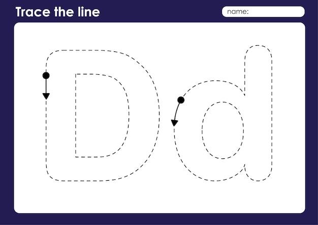 Litera alfabetu d w arkuszu przedszkolnym śledzenia linii