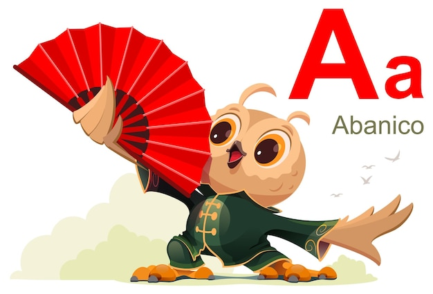 Litera alfabetu hiszpańskiego słowo wentylator abanico przetłumaczone z hiszpańskiego kreskówki wektor