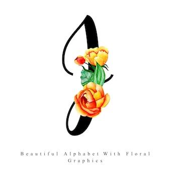 Litera alfabetu j akwarela tle kwiatów