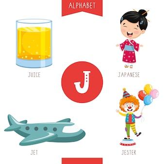Litera alfabetu j i zdjęcia